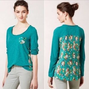 Anthro Paper Locket Floral Pleated Back Flowy Top